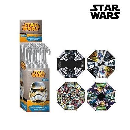 Paraguas manual poliester en expositor 4 modelos de Star Wars