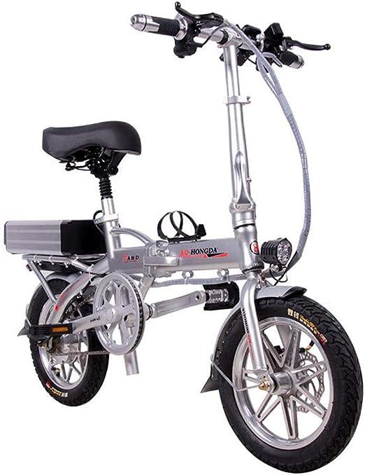 Bicicletas electricas Portátil plegable con batería extraíble de iones de litio de 48 V Ruedas de 14 pulgadas Power Assist 350 W Motor silencioso sin escobillas Bicicleta eléctrica para adultos,120KM: Amazon.es: Hogar