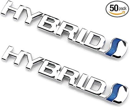 Chrome Blue 3D Metal Logo Car Side Fender Rear Trunk Emblem Badge Decals Sticker Replacement for Jeep Dodge Chevrolet Nissan Ford Toyota EmbRoom Hybrid Car Emblem