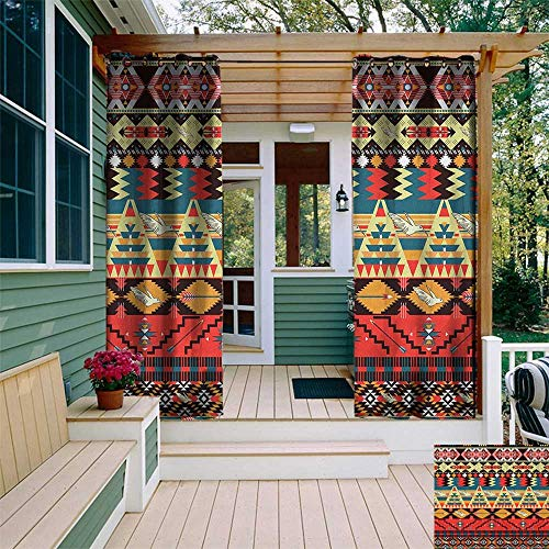 leinuoyi Native American, Outdoor Curtain Ends, Classic Traditional Aztec Pattern Image Bird Flower Arrow Natural Ethnic, Fashions Drape W96 x L108 Inch Multicolor