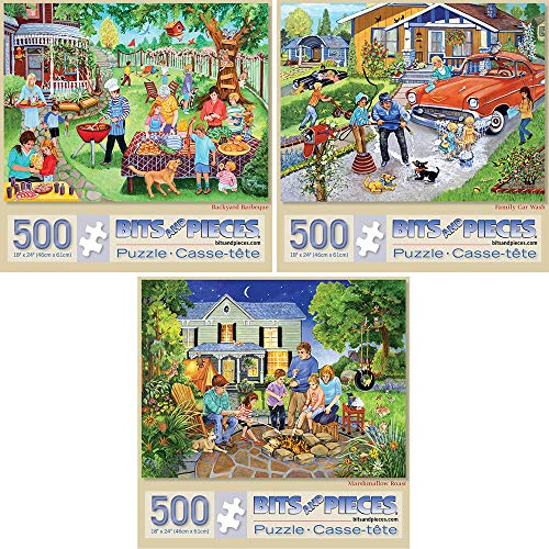 (Bits and Pieces-Value Set of Three(3) 500 Piece Jigsaw Puzzles for Adults-Each Puzzle Measures 18