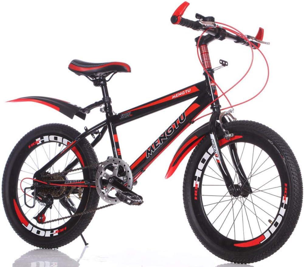Comooc - Bicicleta plegable de 24 pulgadas para niños y niñas de 7 a 16 años de edad, anillo de corte de tres capas a velocidad variable, color negro y rojo, tamaño
