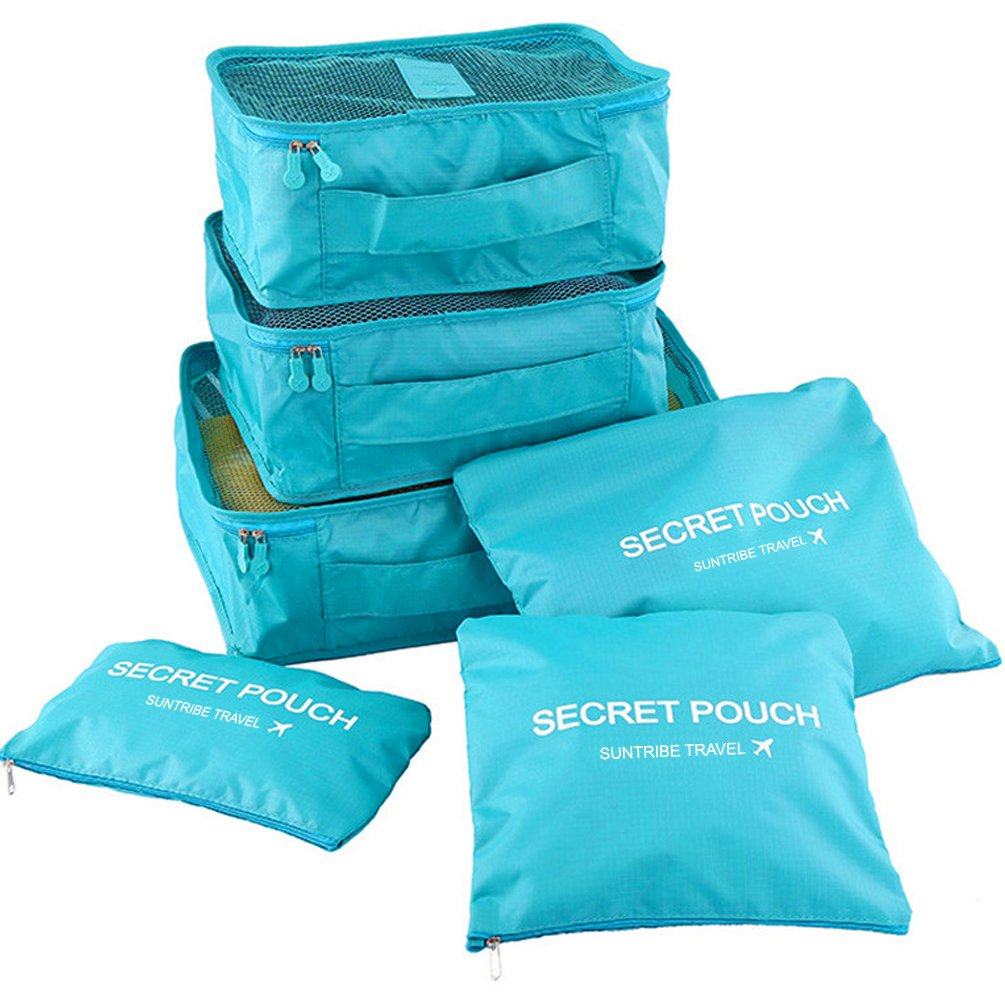 Packing Cubes - WantGor 6pcs Sets Travel Storage Bag Organizer Luggage Compression Pouches (6Set Blue)