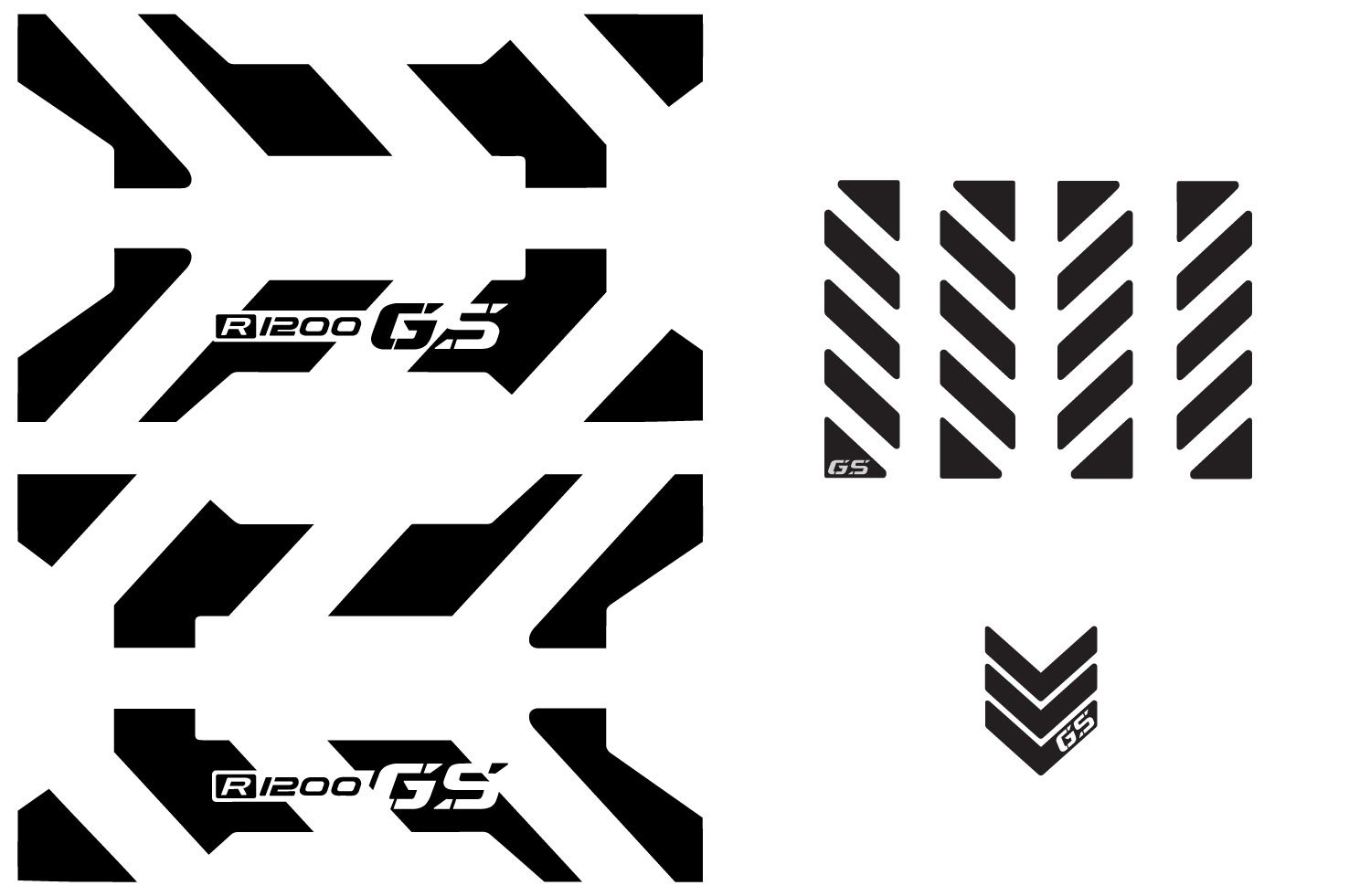 The Pixel Hut gs00017b BMW GS Motorcycle Reflective Decal Kit ''X Chevron'' for Variable Panniers - Black
