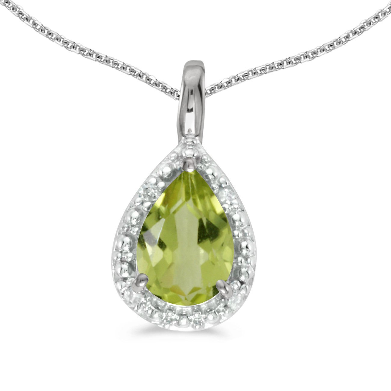 FB Jewels Solid 10k White Gold Genuine Birthstone Pear Gemstone Pendant 3//5 Cttw.