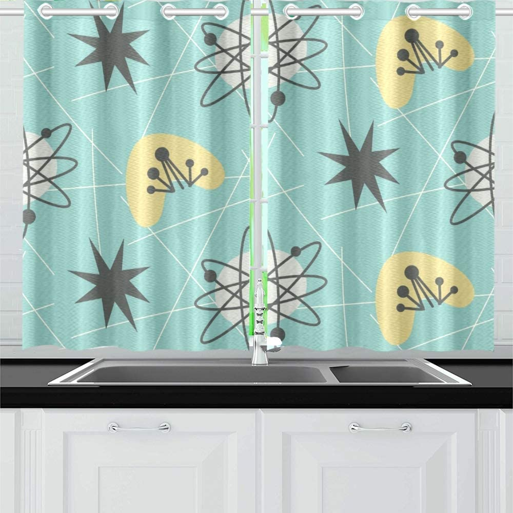 Amazon Com Enevotx Mid Century Modern 1950 S Kitchen Curtains Window Curtain Tiers For Café Bath Laundry Living Room Bedroom 26 X 39 Inch 2 Pieces Home Kitchen
