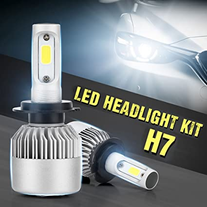 Amazon.com: elegantstunning Pack of 2 COB LED Auto Car Headlight, 40W 10000LM All in One Car LED Headlights Bulb Fog Light, White 6000K Head Lamp H7: ...