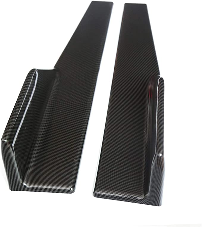 DTOUCH RACING Side Skirts Fits Universal Vehicles Black Carbon Fiber Exterior 450mm Side Bottom Line Extensions Splitter Lip Car Diffusers
