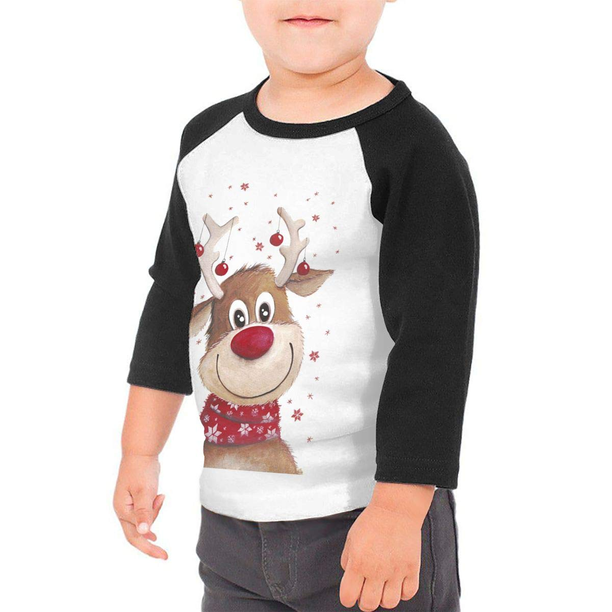 Yimo Rudolph Unisex Toddler Baseball Jersey Contrast 3//4 Sleeves Tee