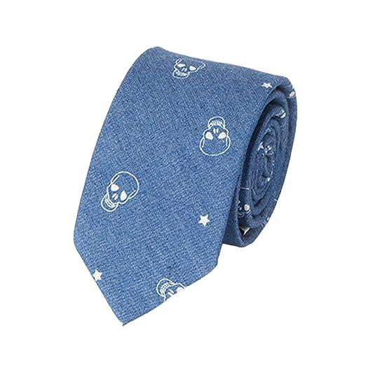 Y-WEIFENG Corbata Azul Corbata Azul de algodón con Estampado de ...