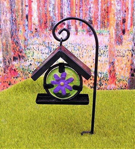 GARDENSHOW Miniature Fairy Garden Glass Flower Bird Feeder