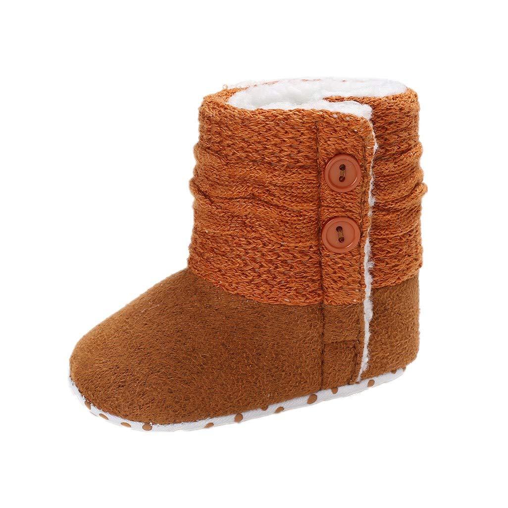 Auxma Chaussures bébé Fille Bottes de Neige à Semelle Souple pour bébé Fille, Chaussures de Berceau Souple, Bottes d'enfant pour 0-6 6-12 12-18 Mois