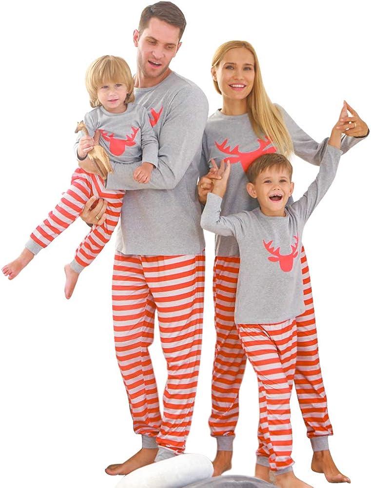 Zoerea Pigiama Famiglia Indumenti da Notte Mamma pap/à Neonato Bambino Beb/è Pigiami Set Manica Lunga con Stampa Tops Pantaloni Due Pezzi Regalo di Natale