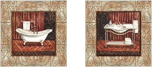 Amazon Com Bordo Vintage Bathroom By Marietta Cohen 2 Piece Art