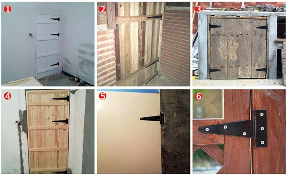 5inch, 4 PCS TamBee T-Strap Barn Door Hinges Shed Door Heavy Duty Hinges Gate Strap Hinges Black Wrought Hardware Iron Rustproof