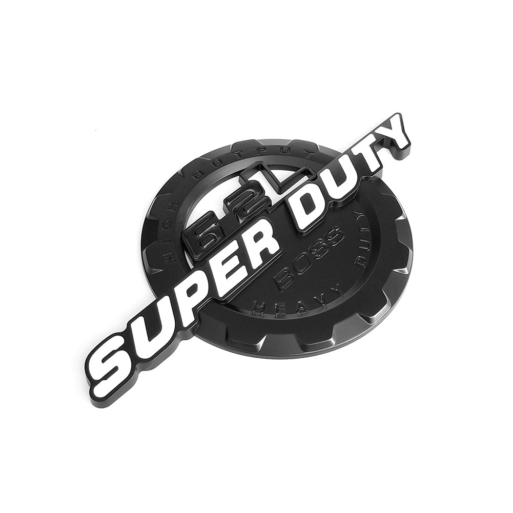 2x OEM Black 6.2L V8 SUPER DUTY Boss HEAVY DUTY Side Fender Emblem Superduty Heavyduty Badge 3D logo Replacement for F250 F350 White Pickup Sanucaraofo