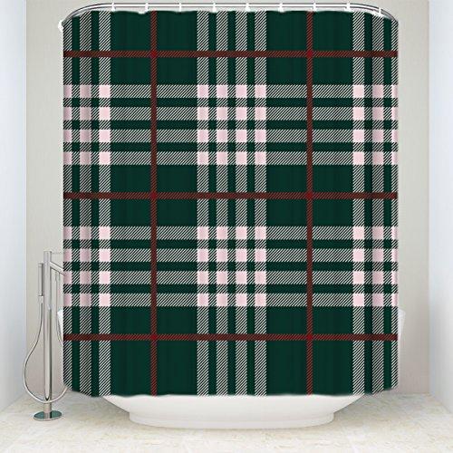 Green Plaid Curtains (Rustic Red White Green Buffalo Check Plaid Polyester Fabric Bathroom Shower Curtain 72x72inch)