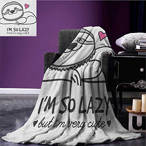 (Sloth Waterproof Blanket Im So Lazy but Very Cute Hand Drawn Sloth with Heart Shape Funny Doodle Artwork Plush Blanket Grey Pink Size:59