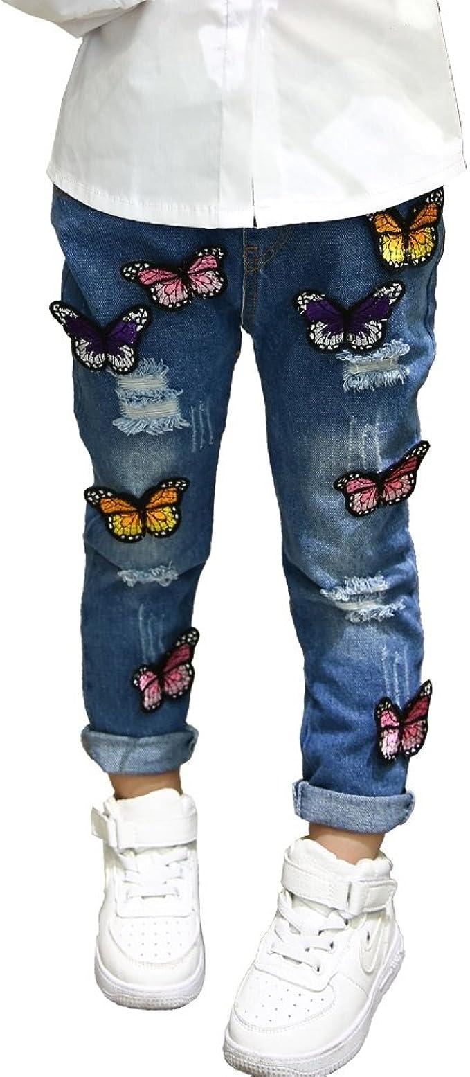 Little Girls Ripped Jeans 3D Butterfly Embroidery Denim Pants Broken Hole Pants Trousers