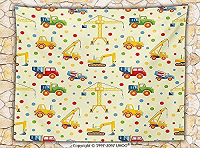 Kids Decor Fleece Throw Blanket Construction Machines Toys Print Colorful Dots Lorry Digger Truck Tractor Themed Party Decorations Throw
