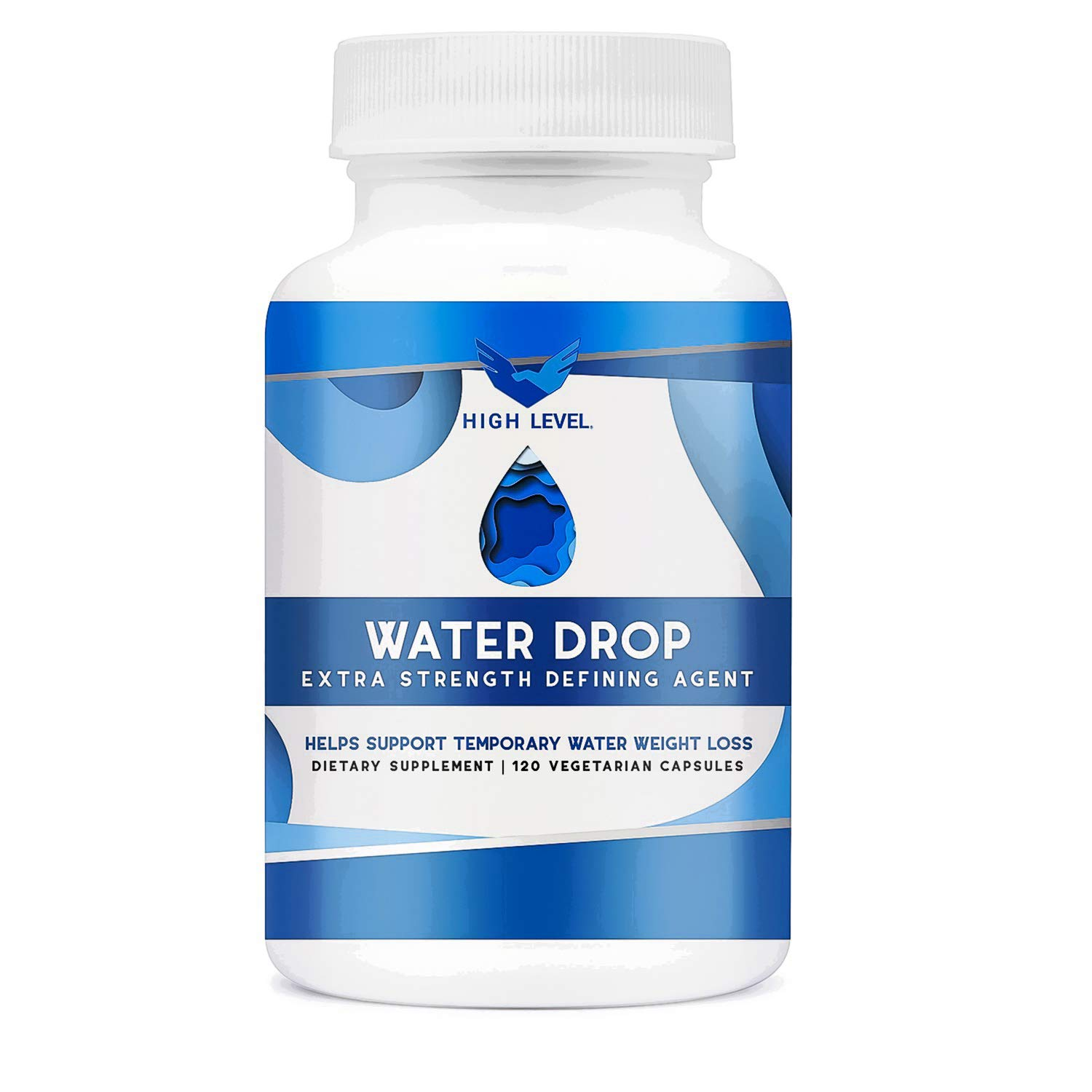 High Level Water Drop | Ultra Premium Water Pill | Natural Diuretic and Pure Water Weight Relief | Extra Strength Defining Agent | Supports Water Weight Loss | 120 Vegetarian Capsules by High Level (Image #1)