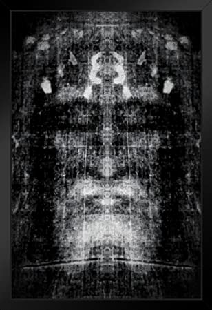 Shroud of Turin Black and White Negative Inspirational Motivational Religious Framed Poster 14×20 inch