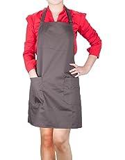 Delantales de Cocinero, Diealles Chefs Cocina Delantal con Correas de Cuello Ajustable y Bolsillos,