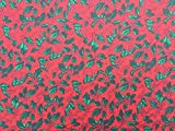 PRESTIGE FASHION Christmas polycotton print fabrics XMAS decoration crafts quilting dress fabric runners patchwork fabric - by the METRE (Holly Leaves - Red) by Prestige Fashion UK Ltd