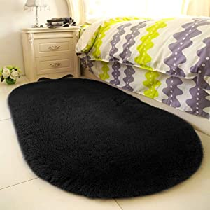 YOH Super Soft Area Rugs Oval Silky Smooth Bedroom Mats for Living Room Kids Room Optional Home Decor Carpets 2.6 x 5.3' (Black)