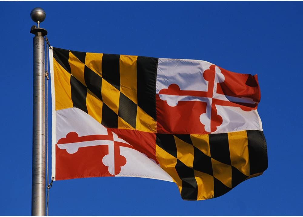 Allied Flag - 3' x 5' Outdoor Nylon Maryland State Flag - Made in USA - Vivid Color and Fade Resistant - Reinforced Hem and Brass Grommets