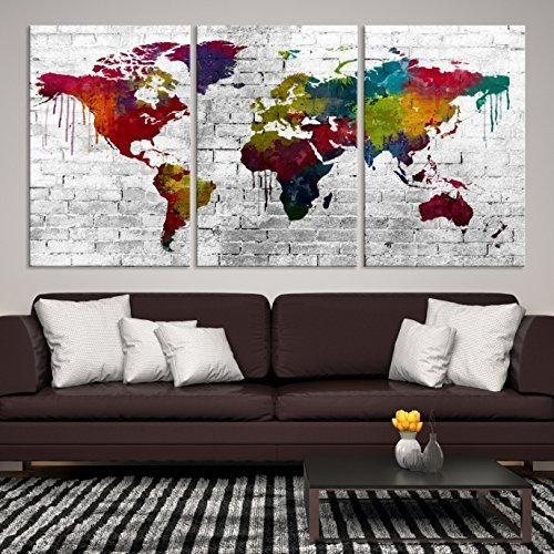 Amazon colorful world map on wall canvas print 3 panel world colorful world map on wall canvas print 3 panel world map wall art for home gumiabroncs Gallery
