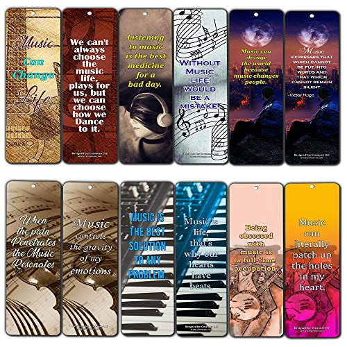 Creanoso Music Can Change Life Bookmarks for Musicians (12-Pack) - Premium Gift Set - Inspiring Word Sayings Quotes for Music Lovers, Guitarists, Pianists, Adult Men & Women - Broadway Musical Gifts