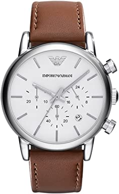 Emporio Armani Mens AR1846 Dress Brown Leather Watch
