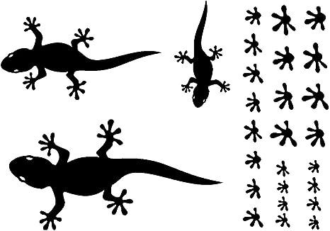Samunshi Gecko Wandtattoo Creativ Set In 5 Größen Und 25 Farben 32x22cm Schwarz Küche Haushalt