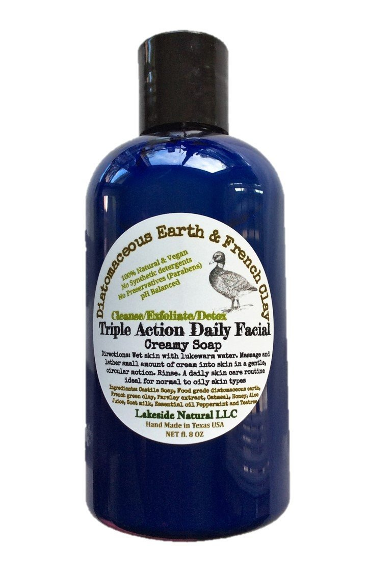 100% Natural Gentle Facial Scrub Foaming Soap with Diatomaceous Earth & French Clay - Triple Action Mud Daily Mask that Exfoliates, Moisturizes, & Detoxify