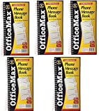 OfficeMax Office Message Book Phone Call, Carbonless Duplicate 5.50 x 11 Inches - 400 Sets per Book (5 Books Total)