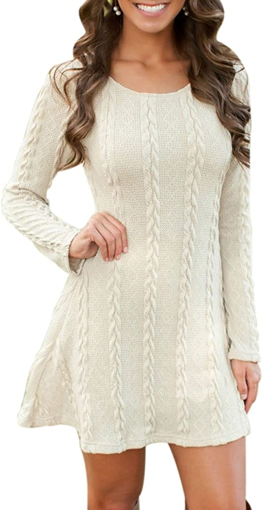 Sumtory Women Cable Knit Dress Slim Fit Long Sleeve Sweater Dresses(8 Colors)