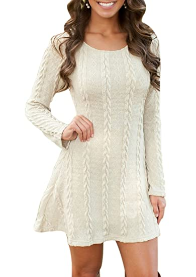aa50989b7c2 Women Long Sleeve Scoop Neck Plain Cable Knit Slim Sweater Dress Small Beige