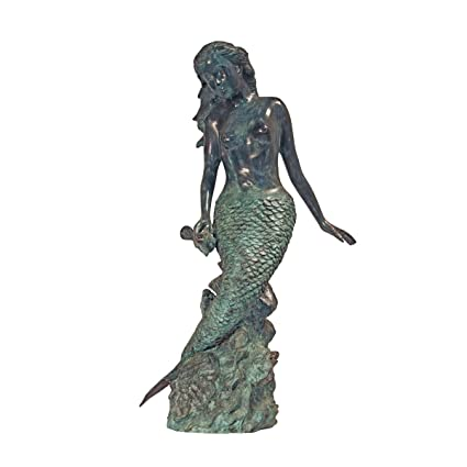 Spitting Mermaid Verdigris Bronze Garden Statue Sculpture Fountain
