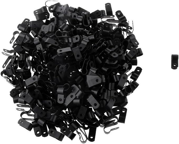 Noir Dia 8.4mm Lot 1000pcs Pince Clip De Serrage Tubes C/âble Nylon PA66 R Type Tuyau Scinder
