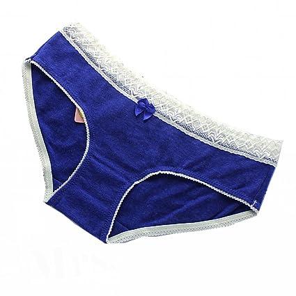 miracle4ever cómodo juego de ropa interior de algodón con encaje para mujer (azul marino,