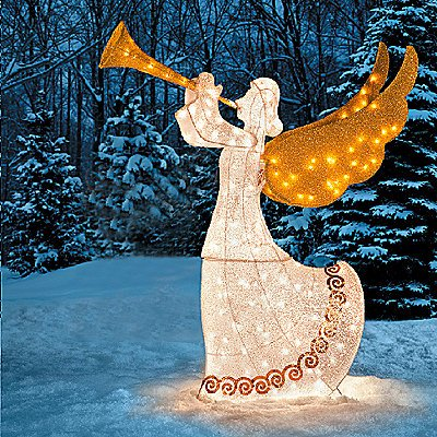 knlstore 5ft lighted shimmering glitter tinsel nativity angel with trumpet horn animated moving golden wings christmas
