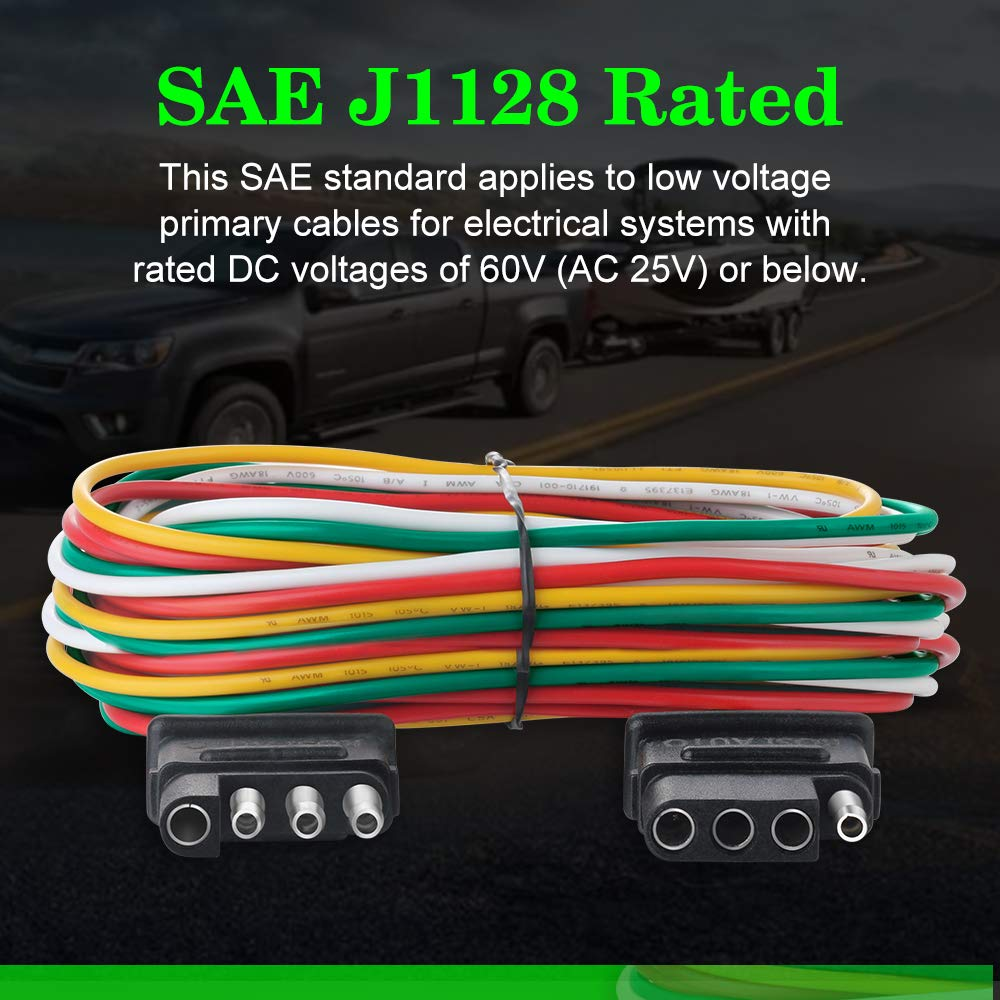 Rosi Wishbone Style Trailer Wiring Harness 4 Wire Extension Lights 6ft 20 Awg Color Coded