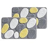 mDesign Soft Microfiber Polyester Non-Slip Rectangular Spa Rugs, Plush Water Absorbent, Pebble Design - for Bathroom Vanity, Bathtub/Shower, Machine Washable - 34' x 21' - Pack of 2, Yellow/White/Gray