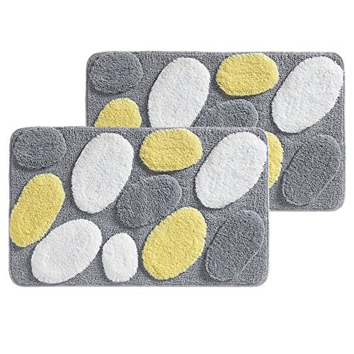 mDesign Soft Microfiber Polyester Non-Slip Rectangular Spa Rugs, Plush Water Absorbent, Pebble Design - for Bathroom Vanity, Bathtub/Shower, Machine Washable - 34 x 21 - Pack of 2, Yellow/White/Gray