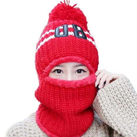 YWQQDP Unisex Knitted Hat Winter Warm Windproof Hat Handmade Woven Wool Line Hood Scarf Collar Head Dual-Use Beanies