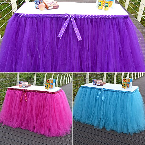Metallic Hula Skirt (Lariy Tulle Table Skirt cover Wedding Party Baby Shower bday Table Decor Rose Red)