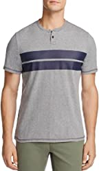 44a0a1327f Surfside New Supply Gray Heather Navy Chest Striped S/S Henley T-Shirt Size