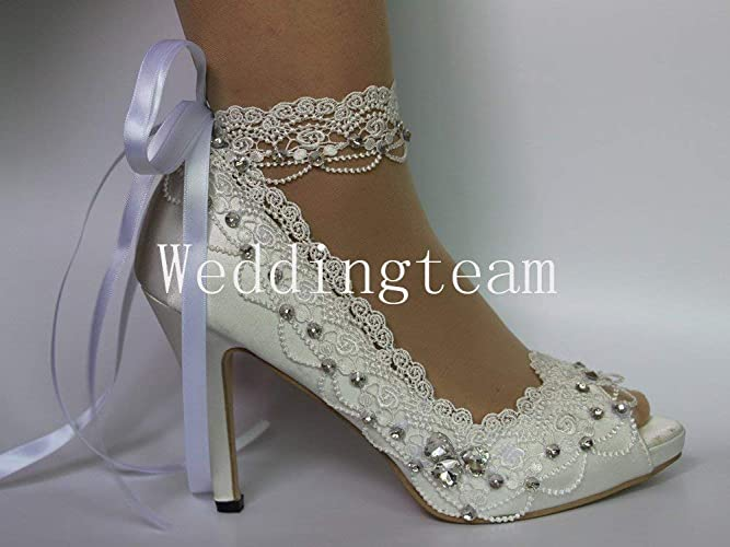 37ee699d7f6 Amazon.com  white ivory lace pearls open toe Wedding prom shoes bride size  5-9.5  Handmade