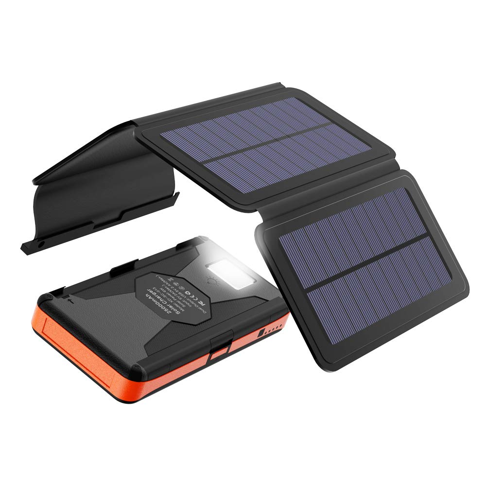 Solar Charger 25000mAh X-DRAGON Portable Power Bank with 4 Solar Panels Waterproof External Backup Battery Pack with Dual USB Outputs & Inputs, LED Flashlight for Smartphones, Tablets and More
